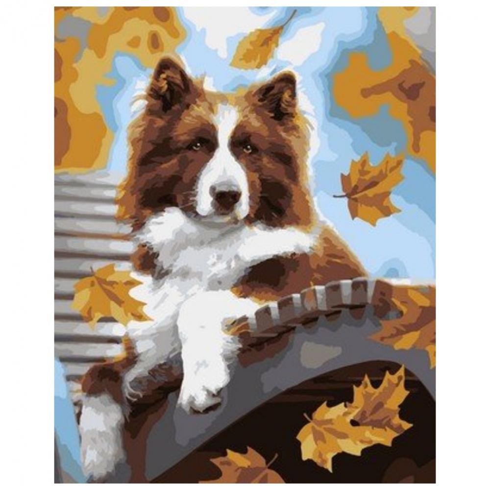Фото - Картина по номерам Lori Осенний пёс, 40х50 см картина по номерам lori любопытный щенок 28 5х20 см