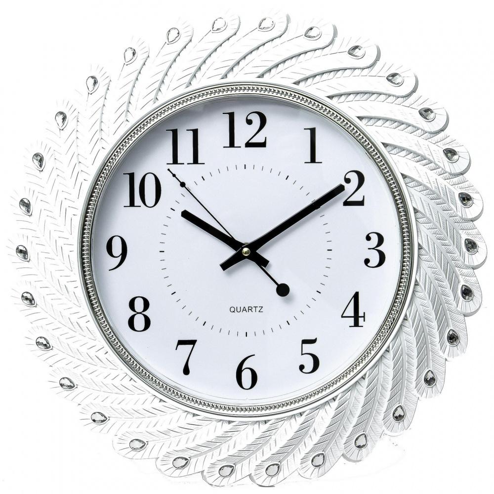 Часы настенные Guterwahl, круглые, рамка со стразами, 43х4,3 см