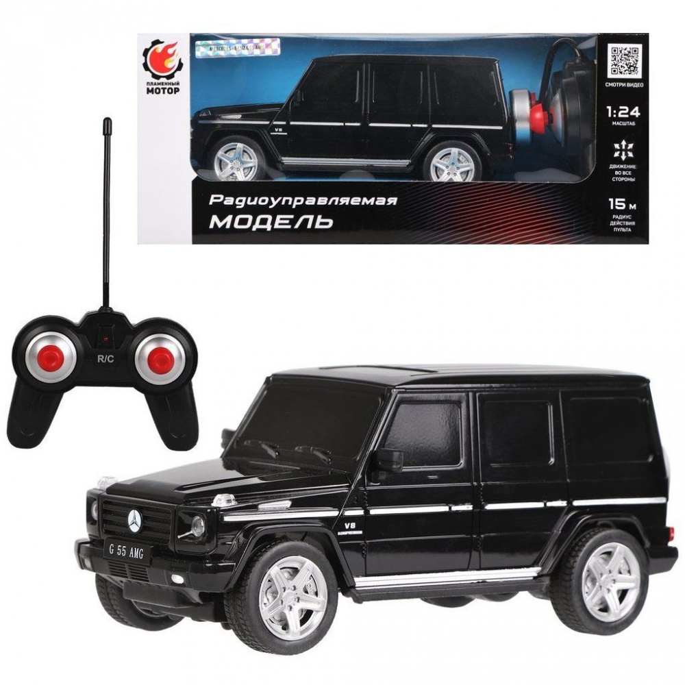 """Машина на радиоуправлении """"Mercedes-Benz G55 AMG"""", черная, 1:24, ТМ """"Пламенный мотор"""""""