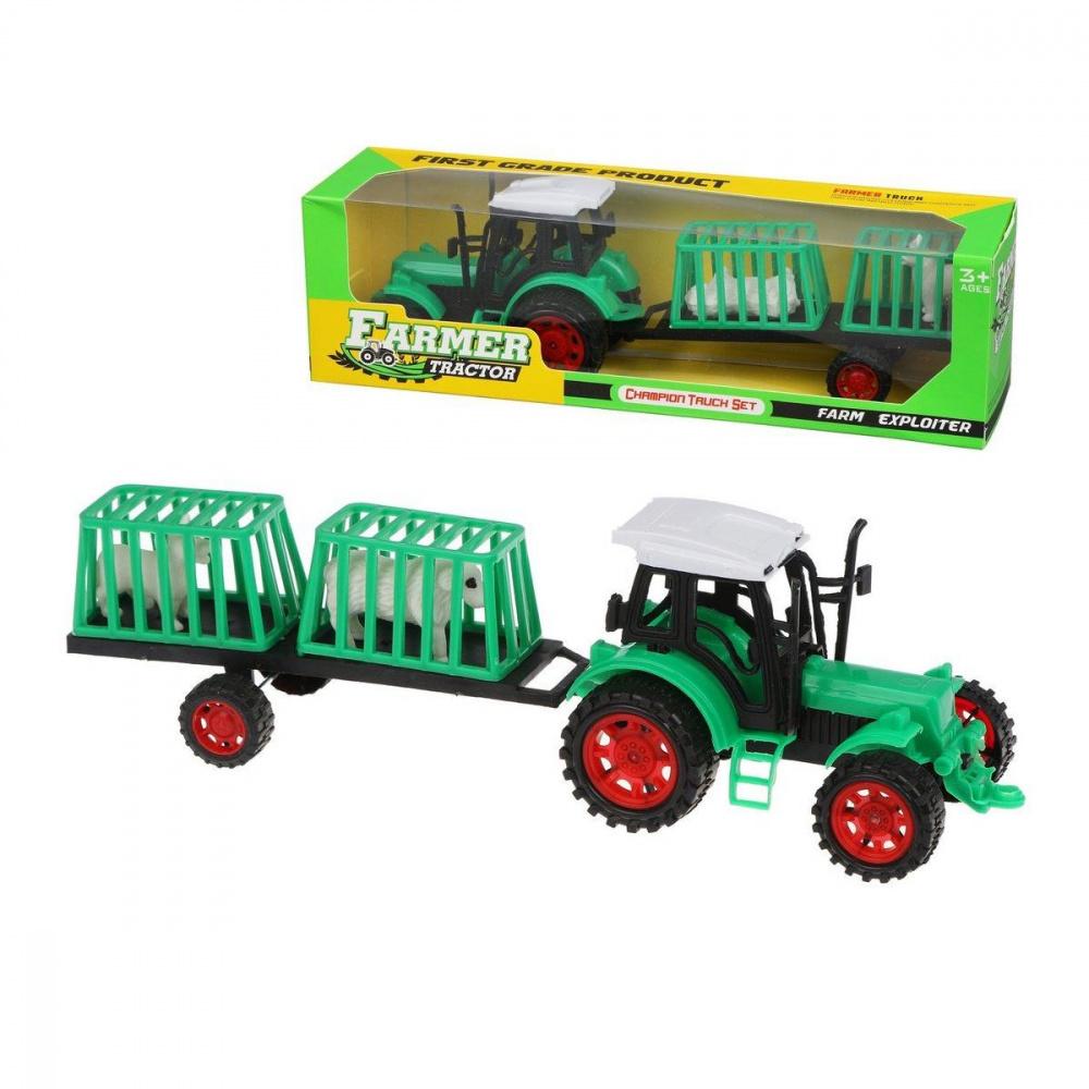 трактор с прицепом игрушка efko трактор с прицепом игрушка Игровой набор Фермер, в комплекте трактор с прицепом без механизма, 2 фигурки, ТМ Наша Игрушка