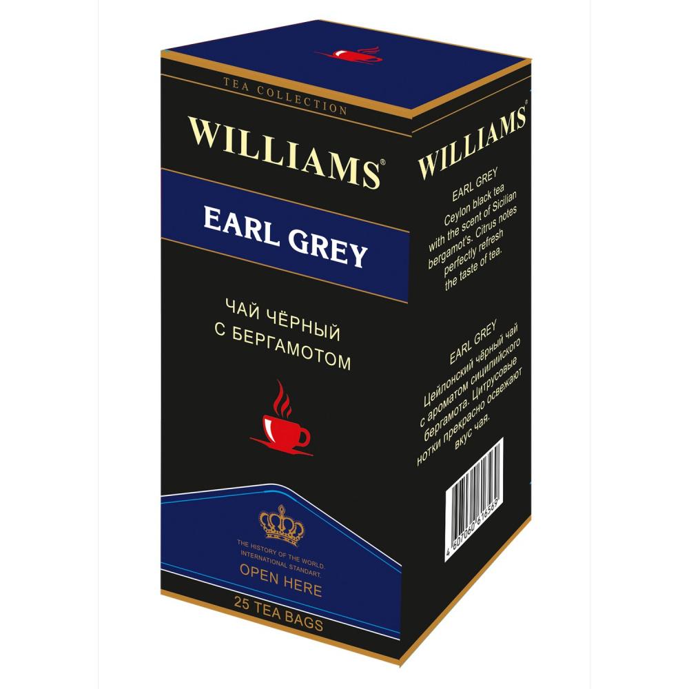 Чай Williams Earl Grey, черный цейлонский с бергамотом, 25 пакетиков чай черный lipton earl grey с бергамотом 25 пакетиков