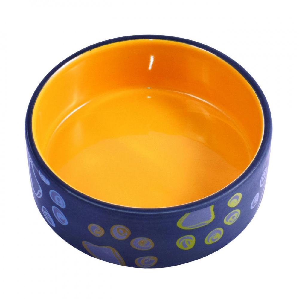 Миска для собак КерамикАрт, керамика, 420 мл, черная с желтым