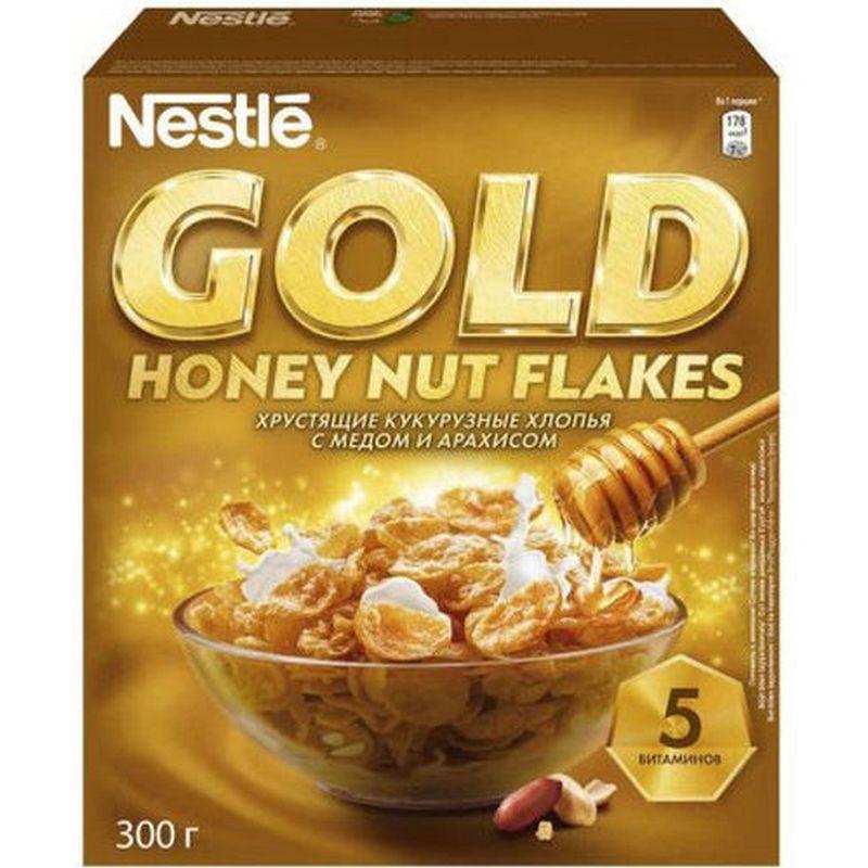 Фото - Хлопья кукурузные Nestle Gold Honey Nut Flakes, с медом и арахисом, 300 г хлопья кукурузные nestle gold snow flakes 300 г
