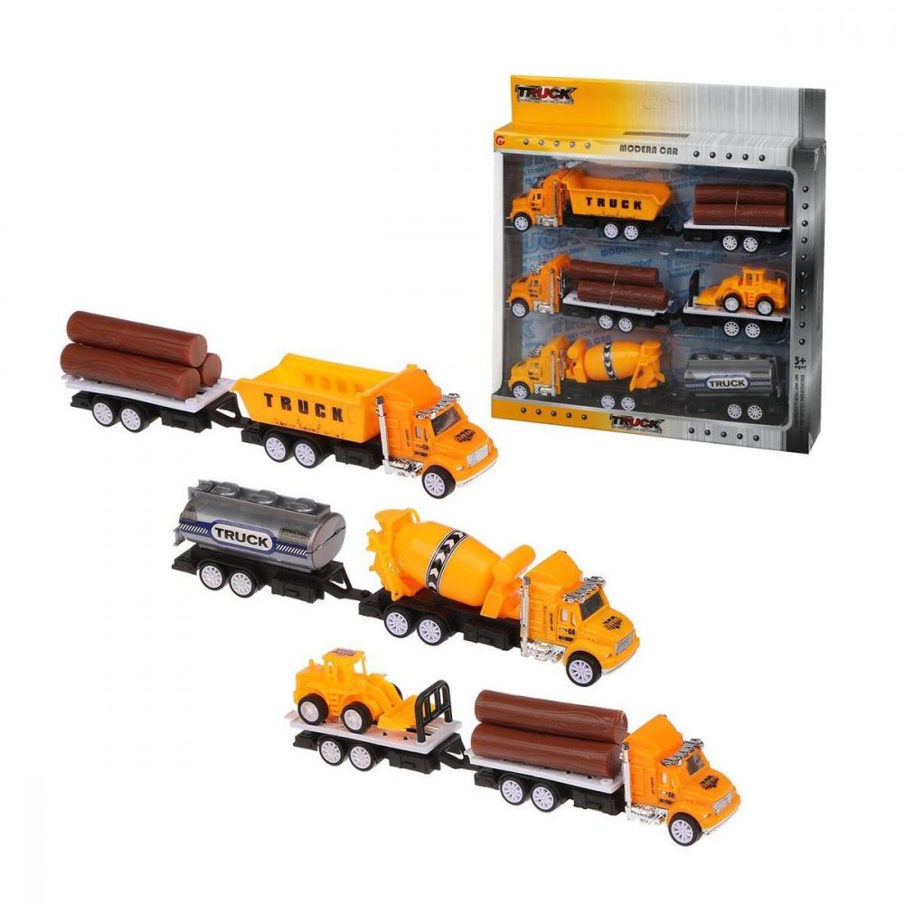 трактор с прицепом игрушка efko трактор с прицепом игрушка Игровой набор Наша Игрушка Спецтехника, 3 машины с прицепом, трактор без механизма, 6 предметов