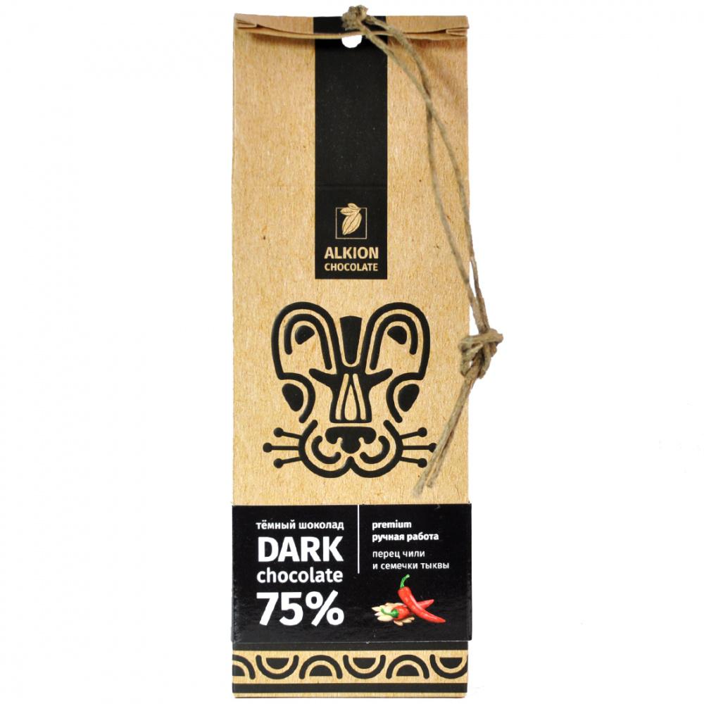 Шоколад горький Alkion Перец чили и тыквенные семечки, 75% какао, 100 г крекеры vitalia с чили и луком 75 г