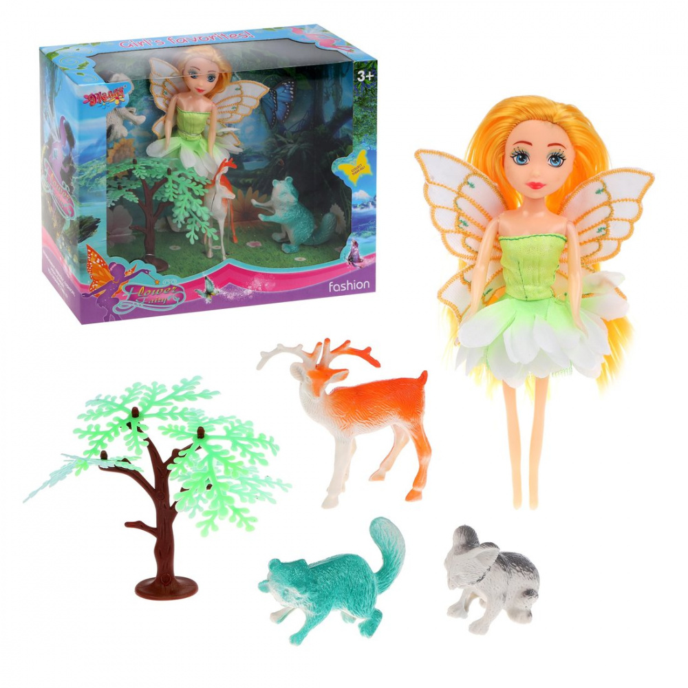 Фото - Набор игровой Наша Игрушка Flower fairy, кукла и 4 фигурки кукла наша игрушка на прогулке 15 см лошадка