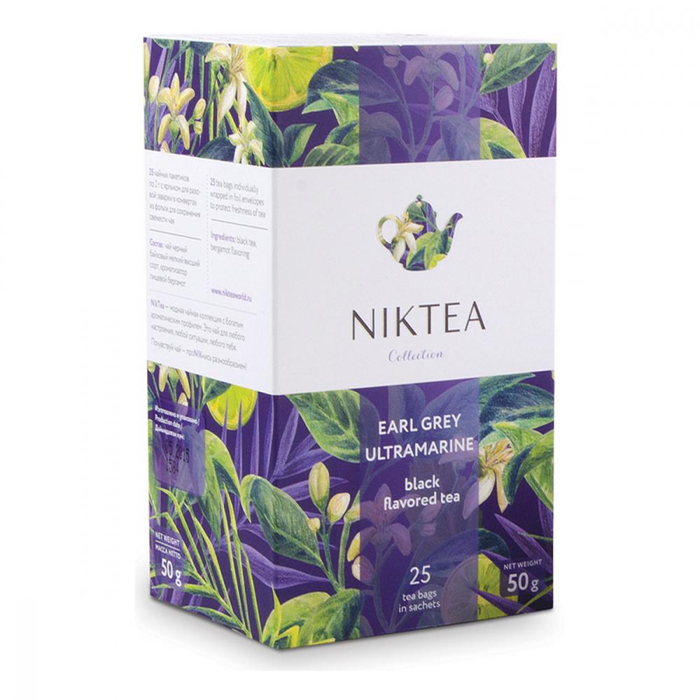 Чай Niktea Earl Grey Ultramarine, черный с бергамотом, 25 пакетиков чай черный lipton earl grey с бергамотом 25 пакетиков
