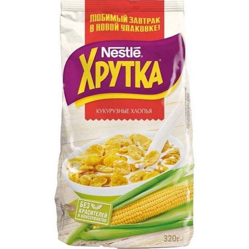 Фото - Хлопья кукурузные Nestle Хрутка, с сахаром, 320 г хлопья кукурузные nestle gold snow flakes 300 г