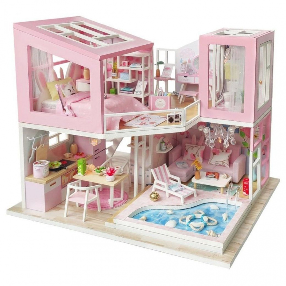 Конструктор интерьерный Розовый фламинго, с подсветкой, ТМ Hobby day интерьерный детский конструктор кондитерская