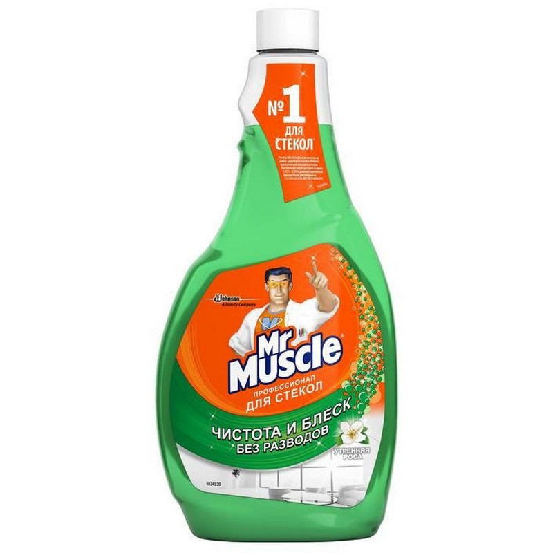 Средство для чистки стекол Mr Muscle, с нашатырным спиртом, сменный флакон, 500 мл