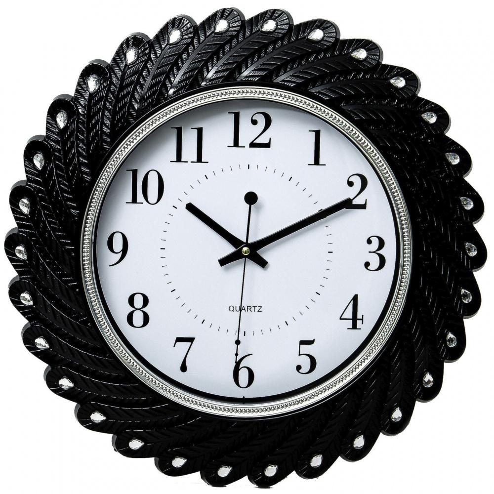 Часы настенные Guterwahl, круглые, рамка со стразами
