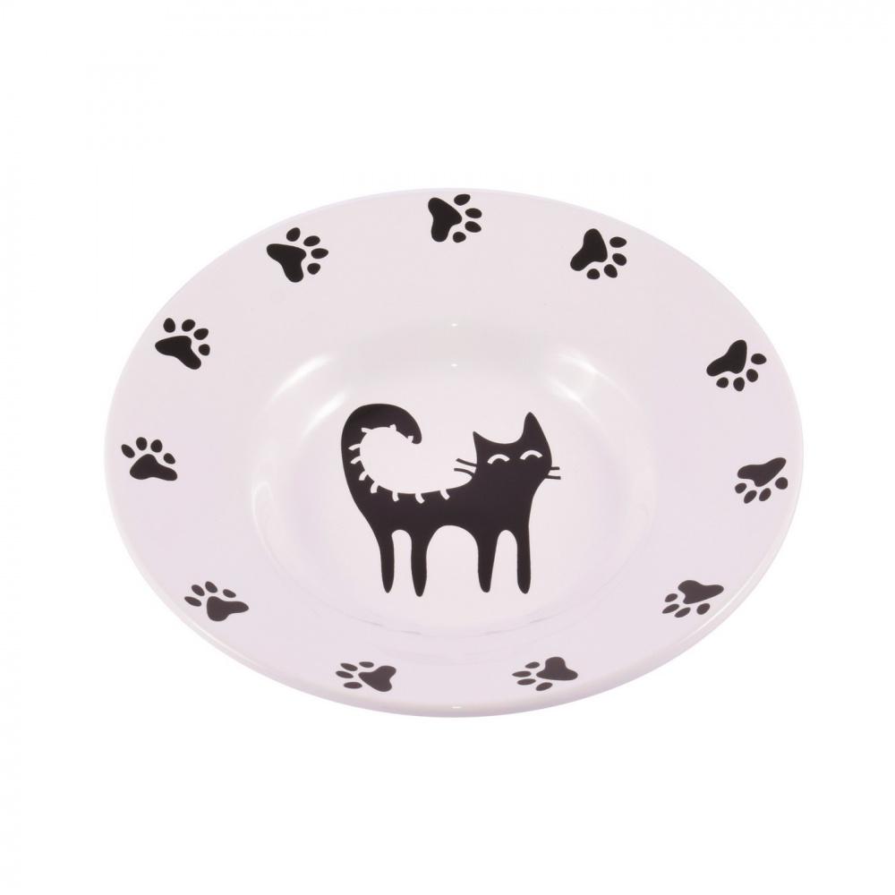 Миска-блюдце для кошек КерамикАрт, керамика, 140 мл, белая