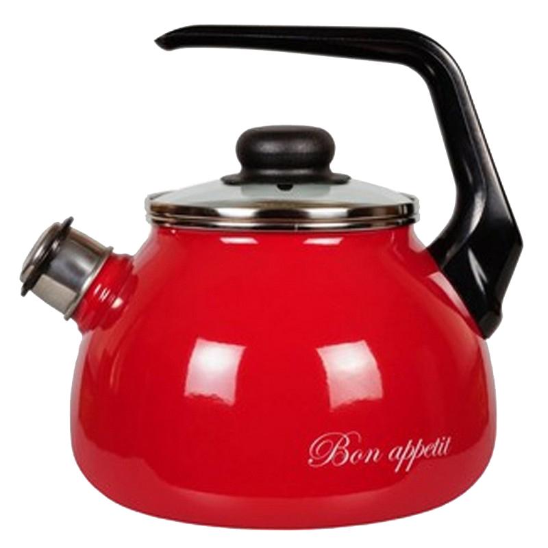 Чайник эмалированный со свистком СтальЭмаль Bon appetit, цвет: вишневый, 3 л, 1RC12 стальэмаль чайник bon appetit со свистком 1rc12 3 л чёрный с зерном вишнёвый