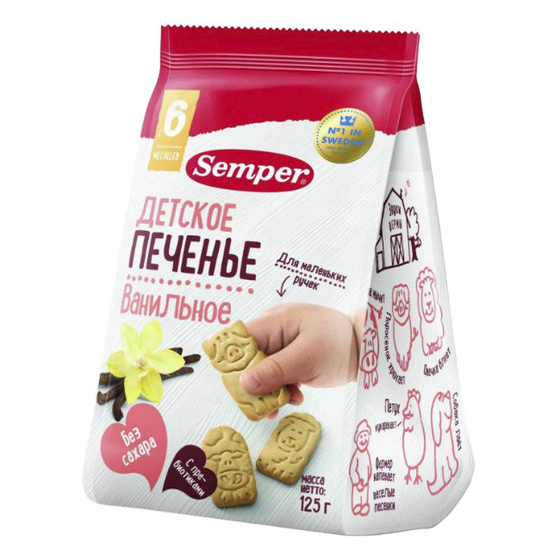 Фото - Печенье детское Semper Ванильное   Ферма, с пребиотиками без сахара, с 6 мес, 125 г без брэнда печенье детское банановое naturbalance semper