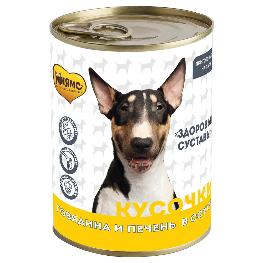 Фото - Влажный корм для собак Мнямс Кусочки в соусе с говядиной и печенью здоровые суставы, 400 г консервы мнямс кусочки в соусе с говядиной и печенью для собак всех пород здоровые суставы 400 г