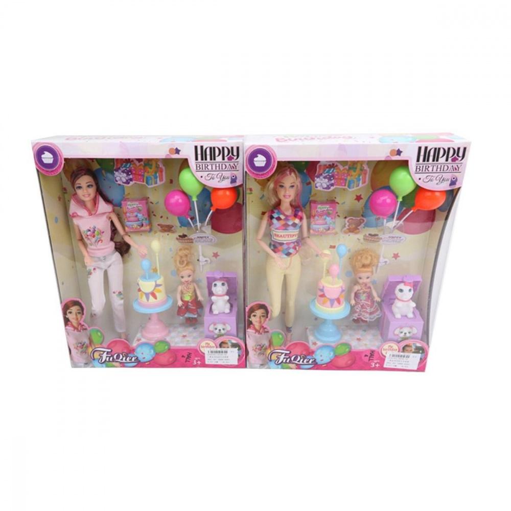 Игровой набор Наша Игрушка Счастливая семья, в комплекте кукла 30 см, кукла 10.5 см, 3 предмета