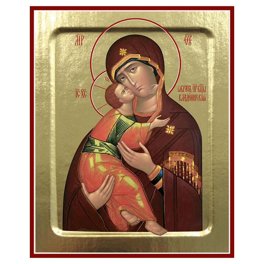 Икона Пресвятой Богородицы Владимирская (красное облачение) на дереве, ТМ