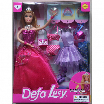 """Набор игровой Defa """"Lucy   Красотка   Pink"""", 1 кукла, 14 предметов"""