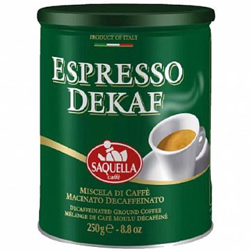 """Кофе молотый Saquella """"Espresso Dekaf"""", без кофеина, 250 г"""
