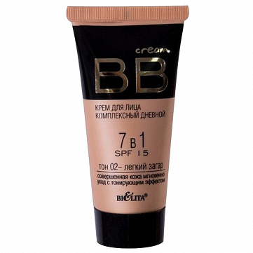 """BB крем для лица Bielita """"Комплексный дневной 7 в 1"""", SPF15, тон №02, 30 мл"""