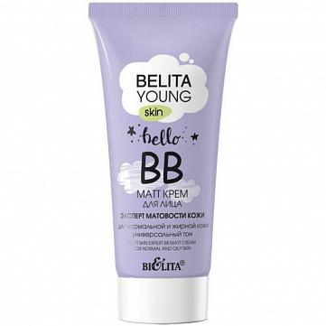 """ВВ-matt крем для лица Bielita """"Young Skin"""", для нормальной и жирной кожи, 30 мл"""